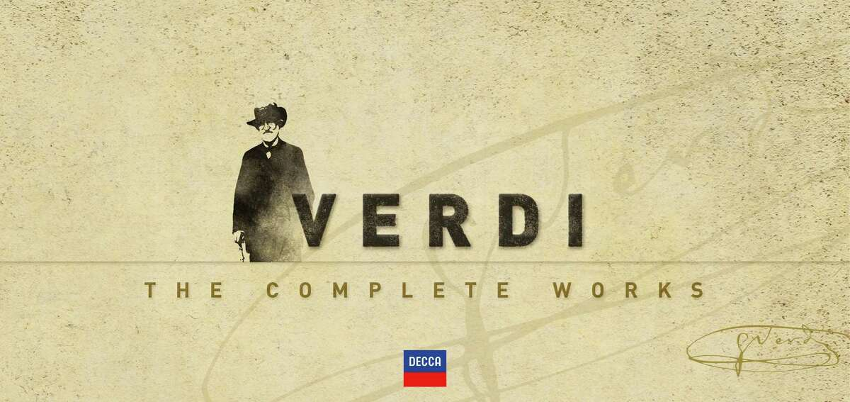 """This box set cover image released by Decca shows """"Verdi: The Complete Works."""" From the ever-popular ?""""Aida?"""" to the obscure ?""""Alzira,?"""" all 28 of Giuseppe Verdi's operas have been repackaged in a boxed set to commemorate the great Italian composer's 200th birthday. (AP Photo/Decca)"""