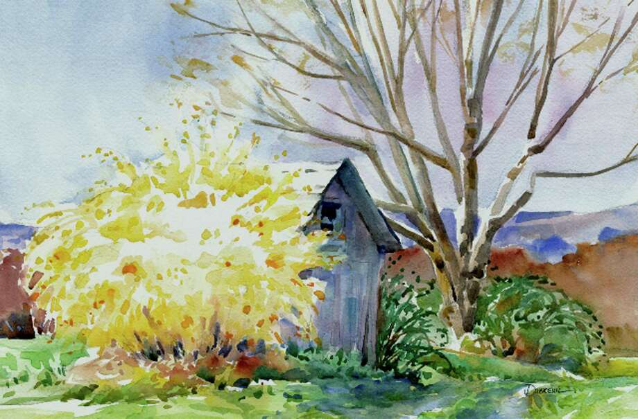 """'Here and There'  The Friends of Roxbury Senior Center is presenting ìHere and There En Plein Airî through April 30. A reception will be held March 10 from 2 to 4 p.m. The show at the South Street library features watercolors by Diane Dubreuil of New Milford. Artwork, like """"Forsythia Frenzy,"""" above, is available to purchase, with a portion of all sales to benefit the Friends of Roxbury Senior Center.  Courtesy of Roxbury Senior Center Photo: Contributed Photo"""
