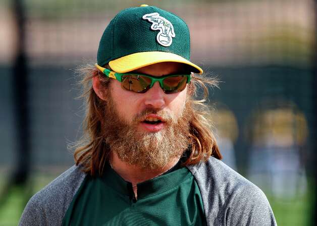A's Josh Reddick during morning workouts as the Oakland Athletics prepare to take on the WBC team Italy at Phoenix Municipal Stadium during spring training action on Tuesday Mar. 5, 2013, in Phoenix, Az. Photo: Michael Macor, The Chronicle / ONLINE_YES