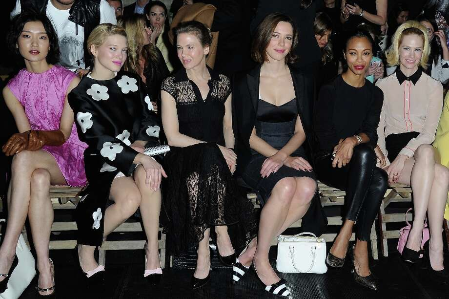 Du Juan, Lea Seydoux, Renee Zellweger, Rebecca Hall, Zoe Saldana and January Jones attend the Miu Miu Fall/Winter 2013 Ready-to-Wear show as part of Paris Fashion Week on March 6, 2013 in Paris, France. Photo: Pascal Le Segretain, Getty Images / 2013 Getty Images