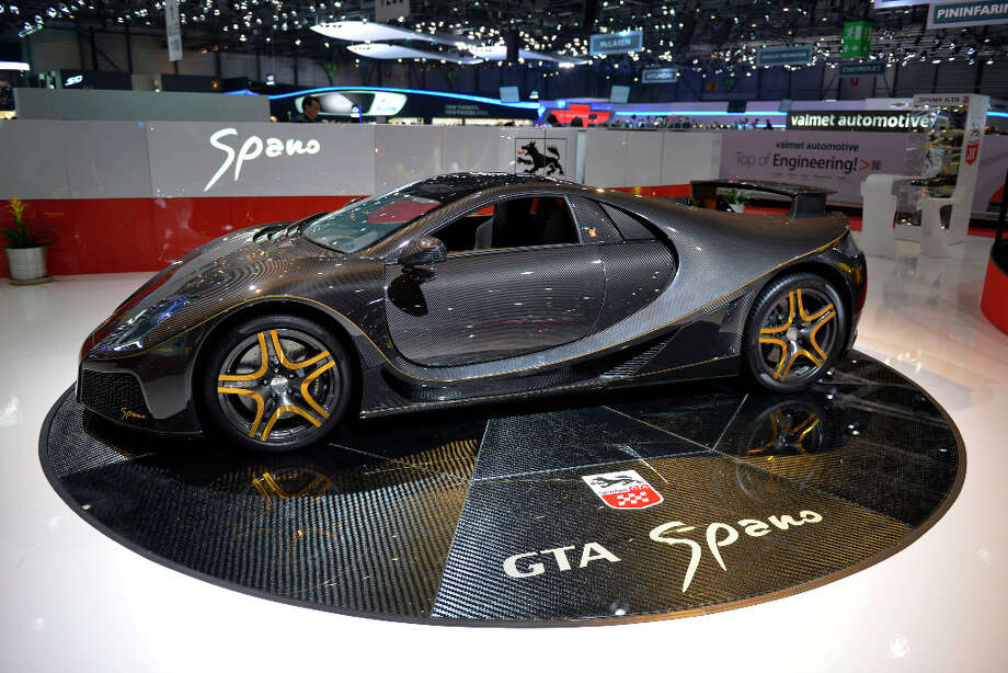 The new Spania GTA Spano is displayed as World premiere on the Spanian carmaker's booth at the Geneva International Motor Show on March 5, 2013 which opens its doors today under a dark cloud, with no sign of a speedy rebound in sight for the troubled European market. The event, which is considered one of the most important car shows of the year, will again be heavily marked by the crisis in Europe after an already catastrophic year in 2012. AFP PHOTO / SEBASTIEN FEVALSEBASTIEN FEVAL/AFP/Getty Images Photo: SEBASTIEN FEVAL, AFP/Getty Images / AFP