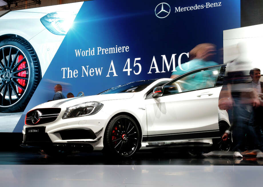 A Mercedes-Benz A 45 AMG automobile, produced by Daimler AG, is seen on display on the first day of the 83rd Geneva International Motor Show in Geneva, Switzerland, on Tuesday, March 5, 2013. This year's show opens to the public on Mar. 7, and is set to feature more than 100 product premiers from the world's automobile manufacturers. Photographer: Valentin Flauraud/Bloomberg Photo: Valentin Flauraud, Bloomberg / Copyright 2013 Bloomberg Finance LP, All Rights Reserved.