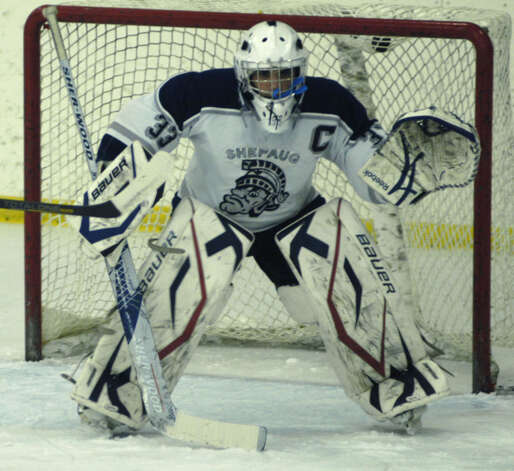 Spartan goaltender Anthony Graziani stands ready during Shepaug Valley High School co-op ice hockey's match vs. Sheehan Feb. 24, 2013 at The Gunnery rink in Washington Photo: Norm Cummings