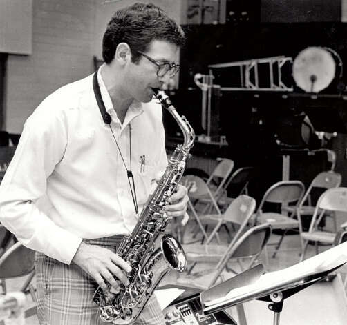 Jimmy Simmons rehearses jazz band in September of 1985. Enterprise file photo