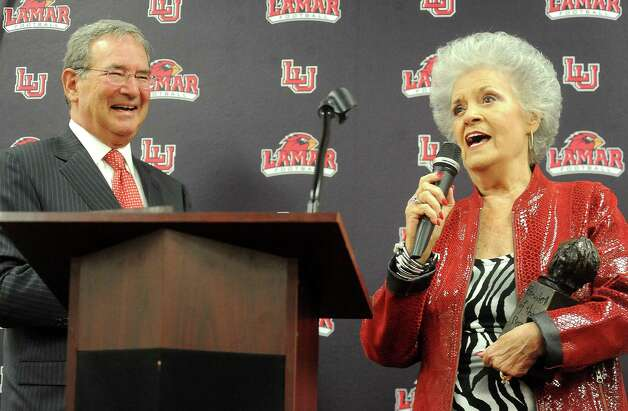 Lamar President, Jimmy Simmons and Charlene Dauphin crack a joke during the renaming ceremony from the Lamar Athletic Complex to the Dauphin Athletic Complex at Lamar University in Beaumont, Wednesday, October 20, 2011. Tammy McKinley/The Enterprise Photo: TAMMY MCKINLEY