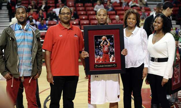Lamar player Donley Minor is honored on Lamar University Senior Day before their game against Oral Roberts University on Saturday, March 2, 2013. Photo taken: Randy Edwards/The Enterprise