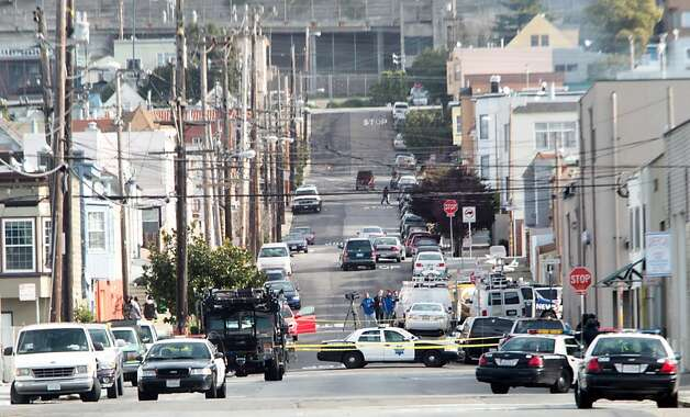 Jennings Street in the Bayview neighborhood is roped off by police after the incident. Photo: Mathew Sumner, Special To The Chronicle