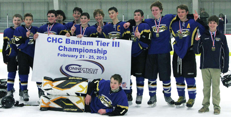 The Northwestern Hockey Bantams recently captured the state Tier III youth ice hockey championship during competition Feb. 21-25, 2013. Contributing to the title were and goaltender Connor Lautier of New Preston and, from left to right, Justin Thompson of New Milford, Griffon McIntyre of Litchfield, Avery Hook of New Milford, Isaac Purdy of Bridgewater, David DeMeo of New Preston, Griffin Smith of Woodbury, Jack Sommerfeld of Brookfield, captain Brian Manzer of Southbury, assistant captain Payton Meyer of New Milford, Jack Kennedy of Roxbury, assistant captain Riley Zimmerman of New Milford and Max Ryan of Woodbury.   The Northwestern Connecticut    Courtesy of Manzer Photo: Contributed Photo