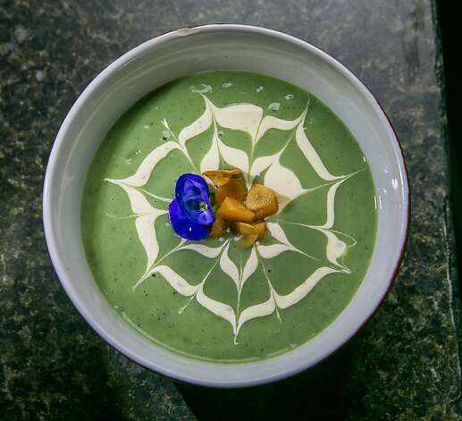 The Wild Stinging Nettle and Potato Soup is among the beautifully presented dishes at Roxy's Cafe in San Francisco. Photo: John Storey, Special To The Chronicle
