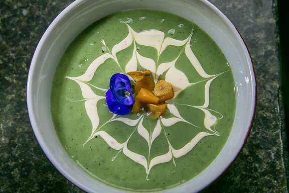 The Wild Stinging Nettle Potato and Nettle Soup at Roxy's Cafe in San Francisco, Calif., is seen on Saturday, March 2nd, 2013.