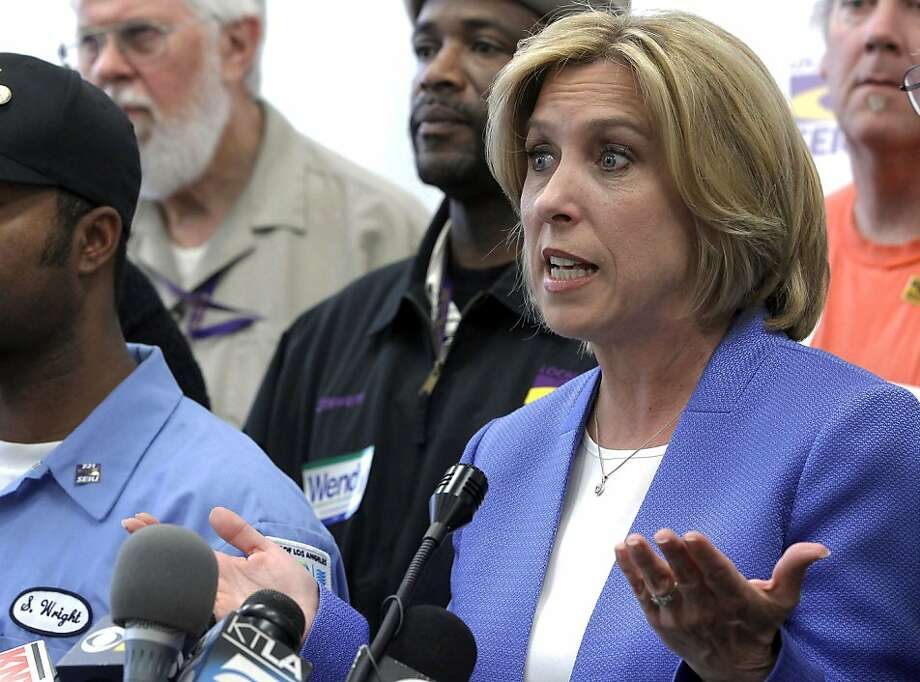 Los Angeles Controller Wendy Greuel had 29 percent of Tuesday's vote, accordingly to preliminary returns. Photo: Nick Ut, Associated Press