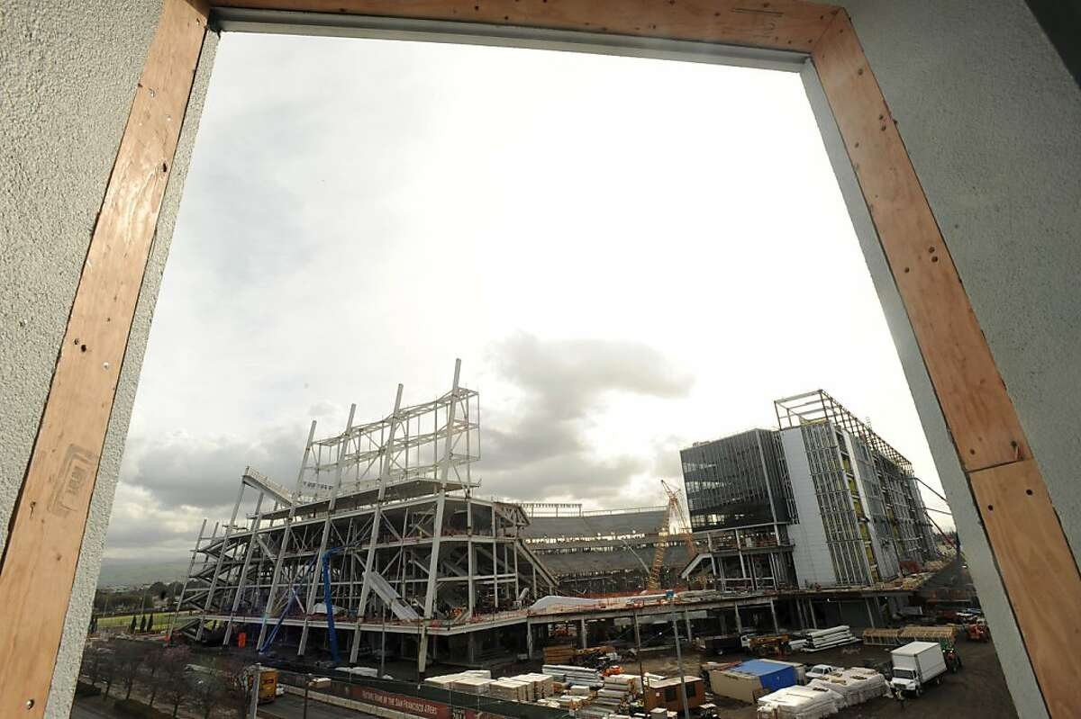 A view of the new 49er's stadium in Santa Clara is seen from a parking garage on March 6, 2013.