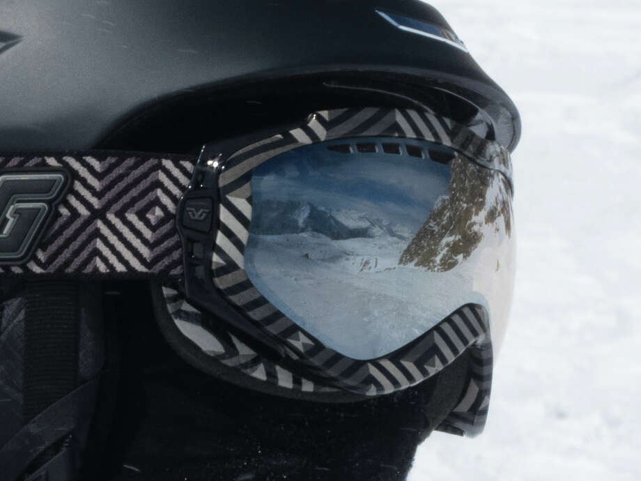 The peaks of Solden, Austria, are reflected in the goggles of Mark Scholefield?s son Bryce on a recent ski trip to the Tirol. This photo was taken on the Tiefenbach Glacier. ?We were there for a week and were blessed with blue skies almost every day,? Mark says. (Mark Scholefield)
