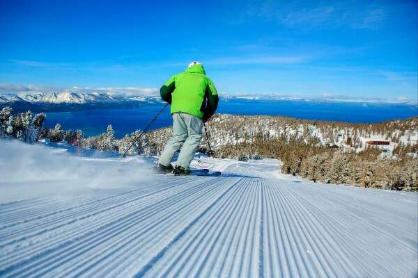 """Miles of corduroy"" -- heading down from the Sky Express last week at Heavenly at Lake Tahoe. Photo courtesy Heavenly Valley Resort"