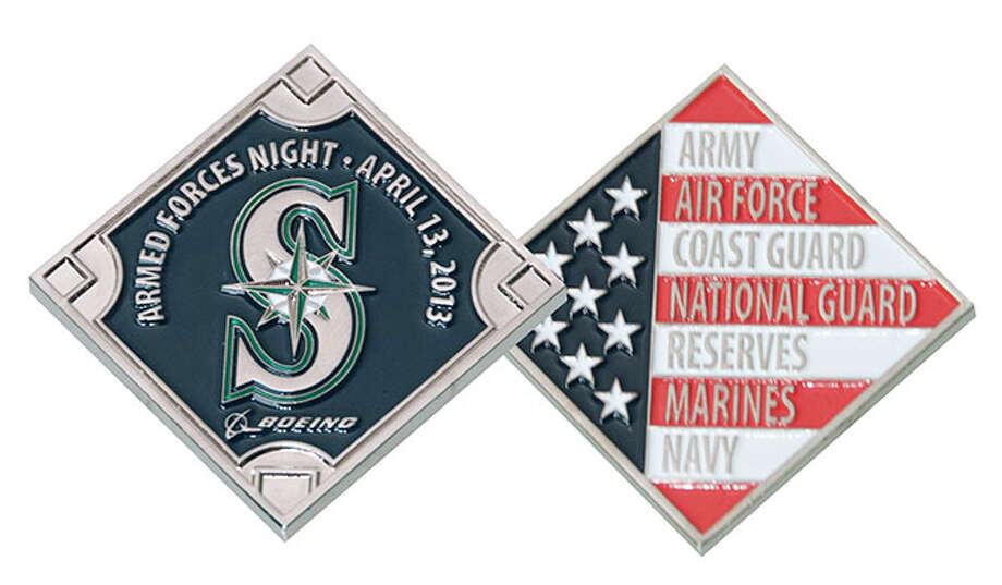 Saturday, April 13:Mariners military coinsAs part of the Mariners' Salute to Armed Forces Night, the M's will give these military coins to 15,000 fans after the game against the Texas Rangers.