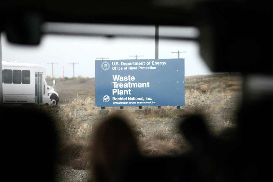 The currently under-construction Waste Treatment Plant sign is shown during a tour of the Hanford Nuclear Reservation. Photo: JOSHUA TRUJILLO / SEATTLEPI.COM