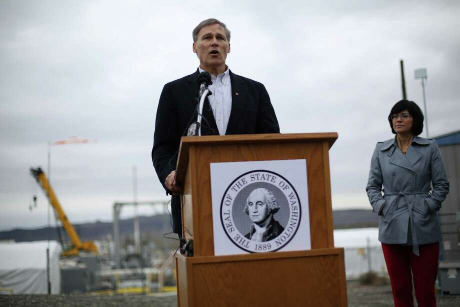 Governor Jay Inslee speaks during a press event at C-Tank Farm during a tour of the Hanford Nuclear Reservation near Richland. Inslee announced plans to ship nuclear waste to New Mexico, a plan that may face resistance from the Land of Enchantment. Photo: JOSHUA TRUJILLO / SEATTLEPI.COM