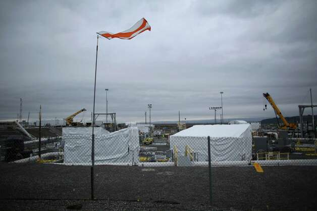 A flag flaps at C-Tank Farm. Photo: JOSHUA TRUJILLO / SEATTLEPI.COM
