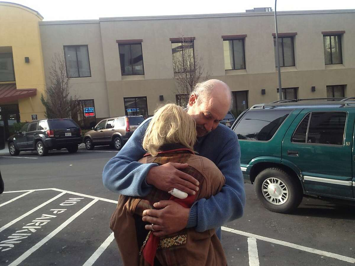 Lisa Modawell hugged her boyfriend Dario Mira after being released from San Mateo County Jail on Wednesday March, 6, 2013.