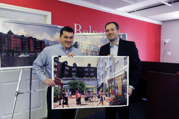 Paxton Kinol, left, and Brandon Lacoff, of Belpointe Real Estate, are partners in the Waypointe commercial/retail/apartment development on West Avenue in Norwalk, Conn, Thursday, Feb. 28, 2013. The excavation work has begun. Photo: Helen Neafsey / Greenwich Time