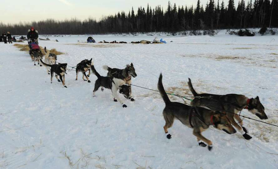 Veteran Iditarod musher Kelley Griffin of Wasilla leaves the Athabaskan village of Nikolai, Alaska,