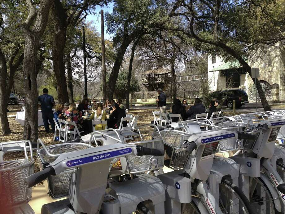 This location near the Witte Museum is one of the five new sites where B-Cycles can be rented. The city is looking to expand the program even more. Photo: Sarah Tressler / San Antonio Express-News