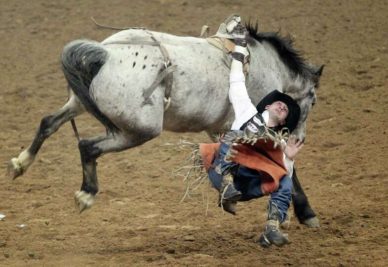 Jared Keylon competes in Bareback Riding during the BP Super Series IV Round 1 at Reliant Stadium on