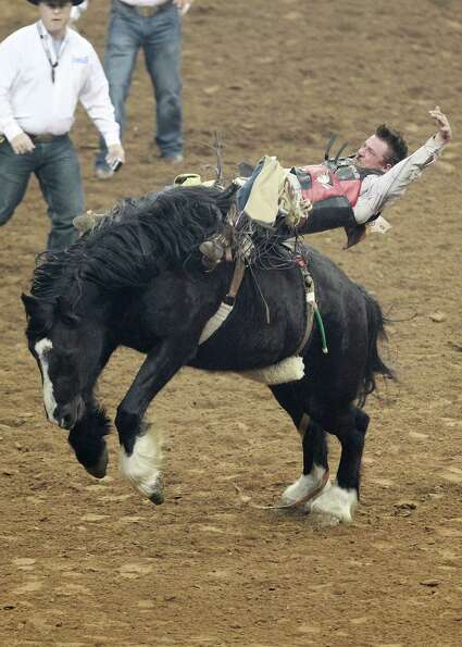 Tom McFarland competes in Bareback Riding during the BP Super Series IV Round 1 at Reliant Stadium o