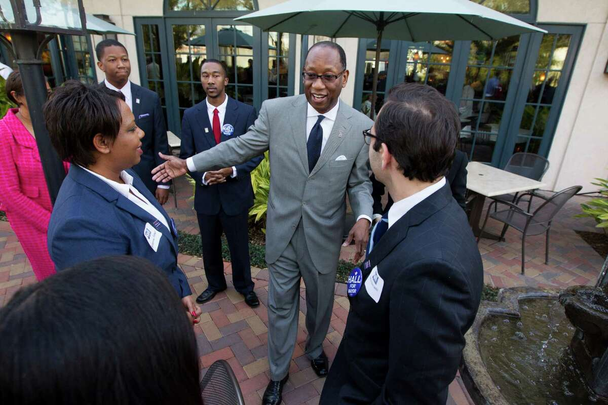 Former city attorney Ben Hall greets supporters Wednesday as he announces his candidacy at Tony Mandola's restaurant in Houston.