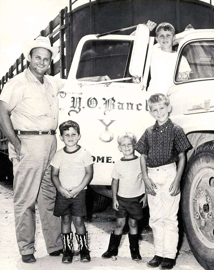 Charles Schreiner III and sons Gus, Louis, Walter and (in truck cab) Charles IV. A lawsuit says the informal partnership began to falter when Charles III died. Photo: Courtesy Photo / Joe Herring Jr.