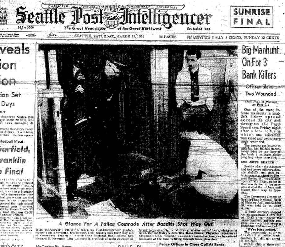 The P-I's front page on March 13, 1954 told of the bank robbery in which Seattle police officer Frank Hardy was killed and two others were wounded.