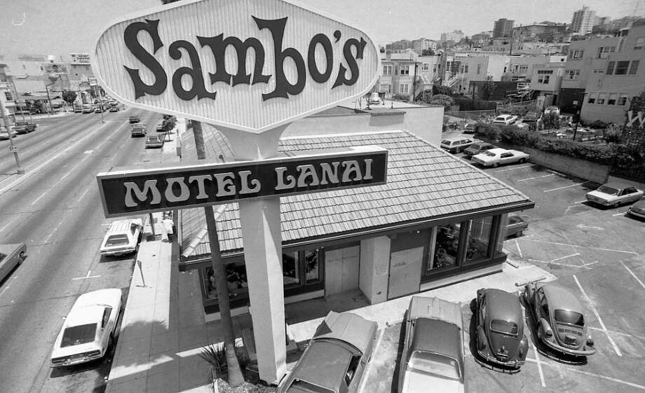 SAMBO'S: I still find it stunning that this place existed. Among my racially charged memories of the Sambo's in Millbrae was a kids menu that included The Legend of Sambo, with what looked like a small black child turning a tiger into butter. Pictured: Sambo's on Lombard Street, 1975. Photo: Gary Fong, The Chronicle / ONLINE_YES