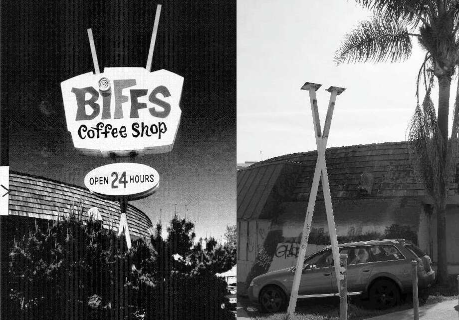 BIFF'S: Another then and now look at the sign, which has a Milk Farm vibe. After the business closed, Biff's was almost turned into a Chevron Station. It was saved from demolition in the 1990s, but remains abandoned. There's a Friends of Biff's blog that hasn't been updated in a while. Photo: Jerry Telfer, The Chronicle / ONLINE_YES