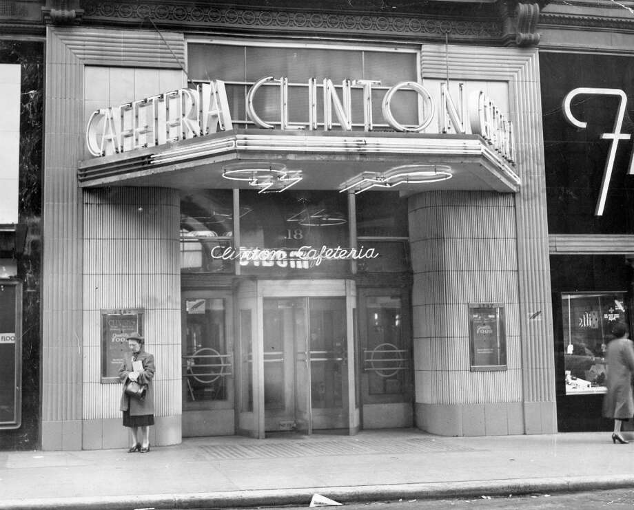 CLINTON CAFETERIA: Clinton Cafeteria was a popular chain in Los Angeles and San Francisco. This location was at 18 Powell Street, close to the cable car turnaround. Pictured in 1950. Photo: Chronicle File, The Chronicle / ONLINE_YES