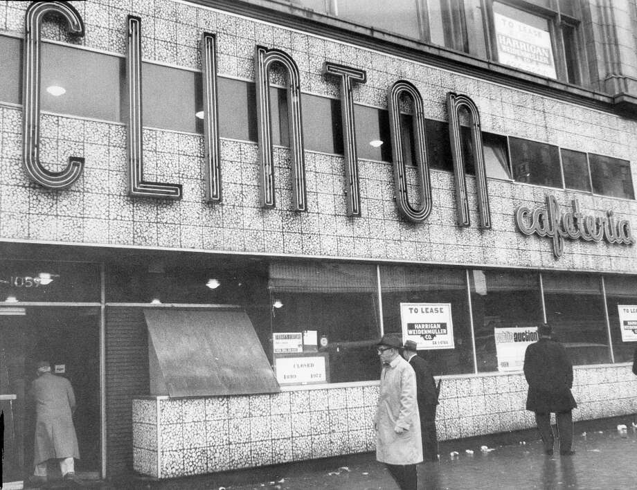 CLINTON CAFETERIA: This Clinton Cafeteria restaurant at 1059 Market Street closed in late 1972. The photo was taken by the Chronicle's Joe Rosenthal, of Raising the Flag at Iwo Jima fame. Pictured in 1973. Photo: Joseph J. Rosenthal, The Chronicle / ONLINE_YES
