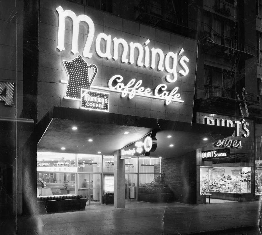 MANNING'S COFFEE CAFE: Another well-remembered fixture in San Francisco, Manning's had some great signage. This restaurant opened near the corner of Fifth and Market streets on Jun. 11, 1954. Photo: Courtesy Dickey And Harleen Stud / ONLINE_YES