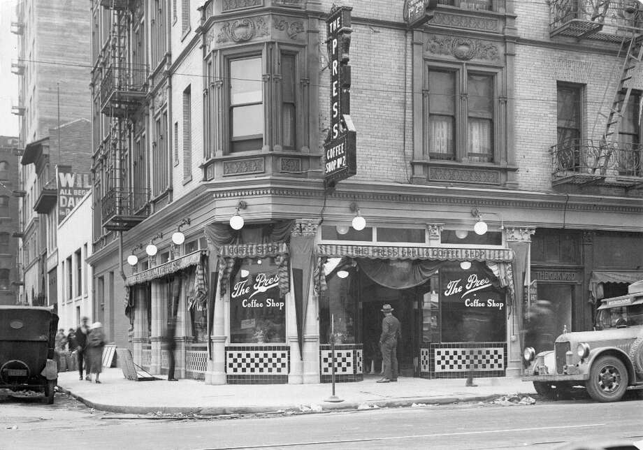 THE PRESS COFFEE SHOP: Another older diner at Fifth and Jessie streets, at the same location as the Fosters in the earlier photo. I suspect based on the cars this image was taken in the 1930s. The Chronicle was a block away, so I'm guessing the name was a reference to the newspaper. Photo: Chronicle File / ONLINE_YES