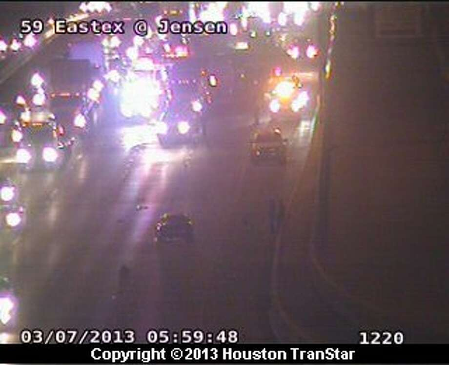 Traffic was slowed on the Eastex Freeway near Little York after a crash early Thursday morinng. Photo: Houston Transtar