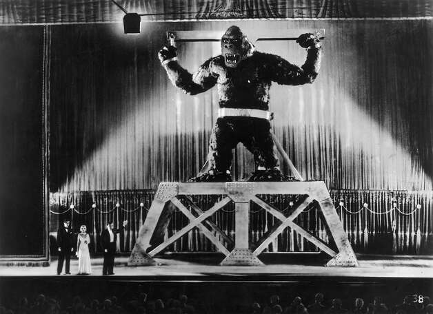 "King Kong is displayed on stage in New York by its captors in a scene from RKO's classic movie ""King Kong."" Photo: Henry Guttmann, Getty Images / Moviepix"