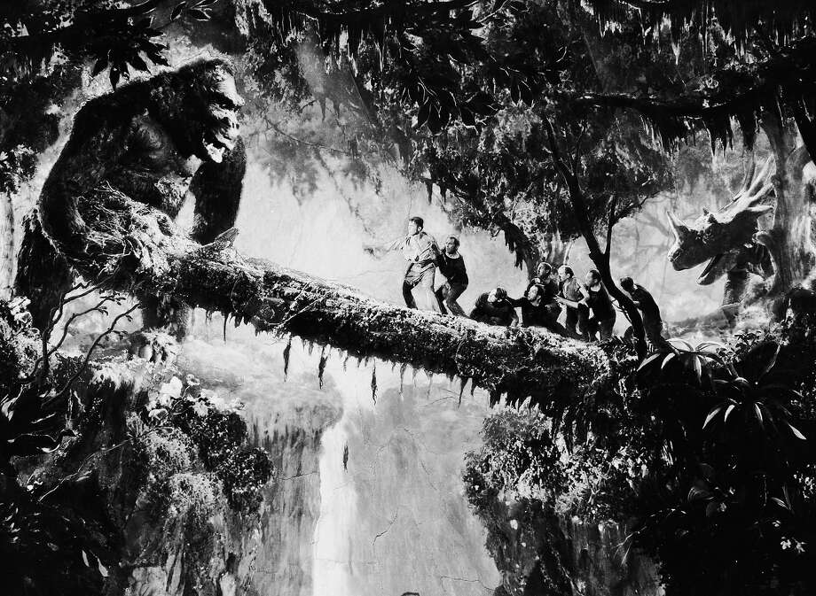 "John Cerisoli's model of the giant ape tries to shake the men off their precarious perch in a scene from the classic monster movie ""King Kong."" Photo: John Kobal Foundation, Getty Images / Moviepix"
