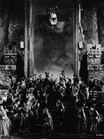 "The giant ape appears at the village gates in a scene from the classic monster movie ""King Kong."" Photo: John Kobal Foundation, Getty Images / Moviepix"