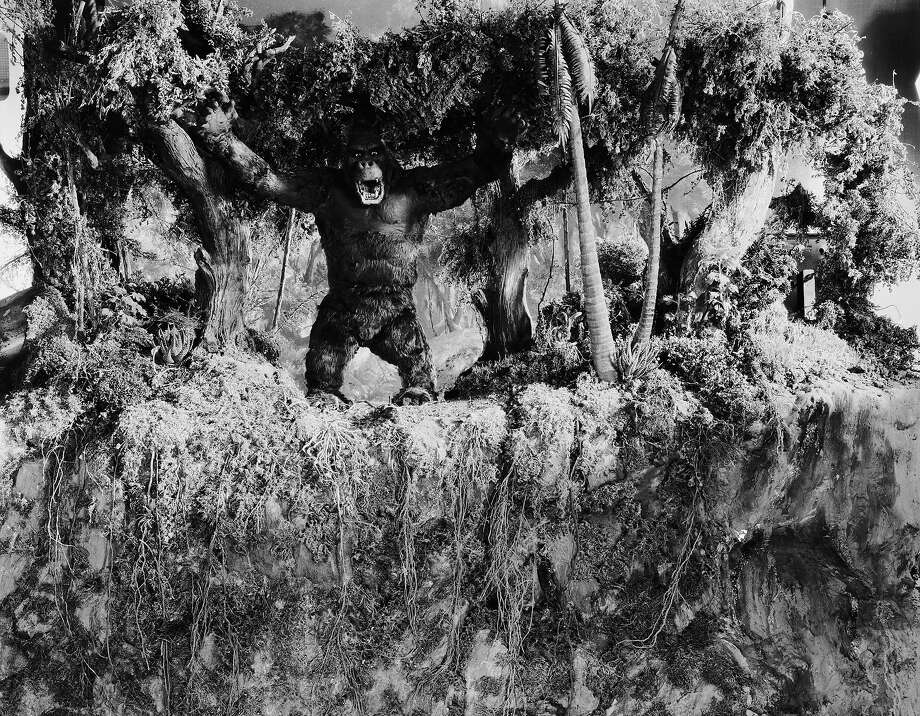 """One of John Cerisoli's models of the giant ape, poised at the edge of a precipice in a scene from the classic monster movie """"King Kong."""" Photo: Ernest Bachrach, Getty Images / Moviepix"""