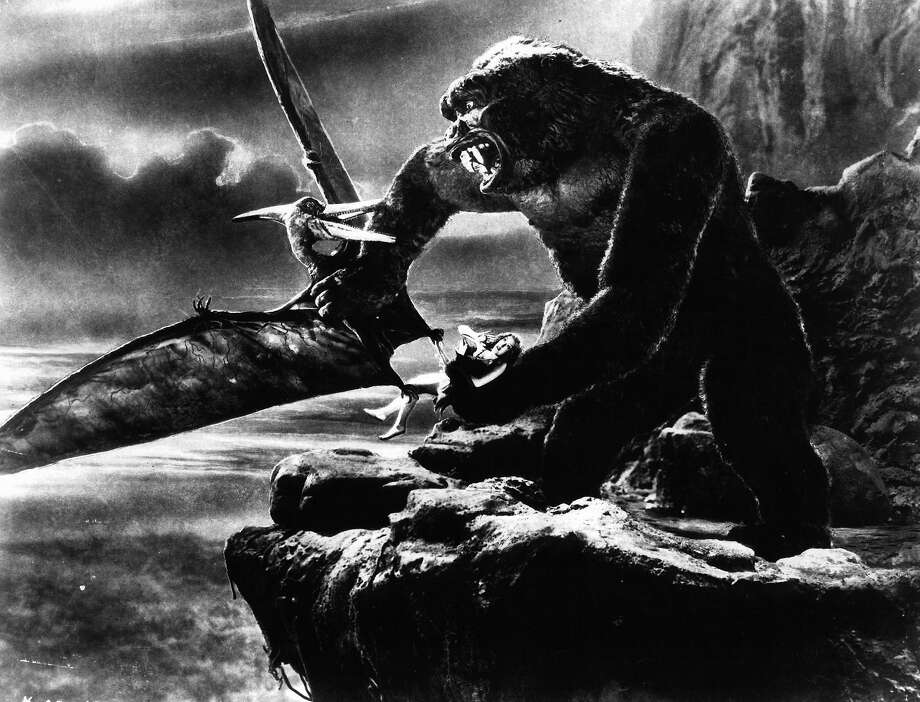 "Kong fighting off flying creature while holding Fay Wray in a scene from the film ""King Kong."" Photo: Archive Photos, Getty Images / 2012 Getty Images"