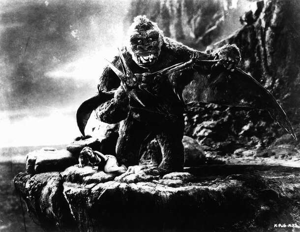 "Kong fighting off flying creature as Fay Wray cowers in a scene from the film ""King Kong."" Photo: Archive Photos, Getty Images / 2012 Getty Images"
