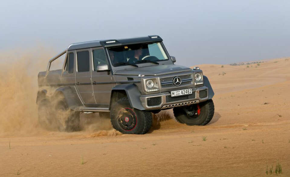 Mercedes introduced a G63 AMG 6x6 luxury SUV this week. The SUV has six wheels and packs a 5.5-liter