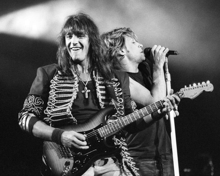 Richie Sambora and Jon Bon Jovi from Bon Jovi performing live at the Oakland Coliseum in 1993. Photo: Clayton Call, Getty Images / 1993 Clayton Call