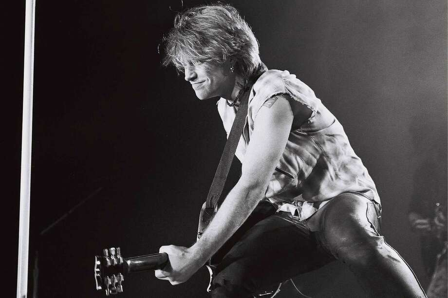 Jon Bon Jovi from Bon Jovi performs live on stage in front of the audience at Ahoy in Rotterdam, Netherlands in 1993. Photo: Rob Verhorst, Getty Images / Redferns