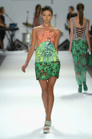 A model walks the runway at the Nanette Lepore Spring 2013 fashion show during Mercedes-Benz Fashion at The Stage Lincoln Center on September 12, 2012 in New York City. Photo: Frazer Harrison, Getty Images For Mercedes-Benz F / 2012 Getty Images