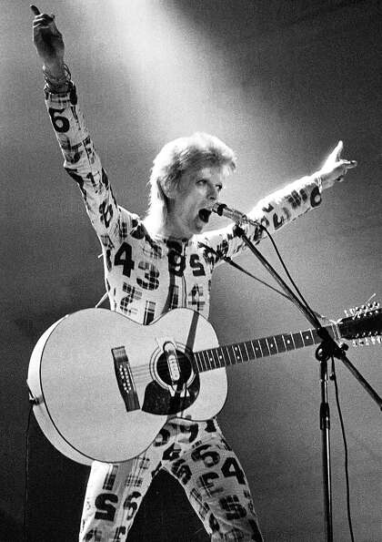 David Bowie, performing live onstage on Ziggy Stardust tour in 1973.