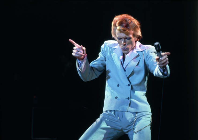 British rock star David Bowie on stage at the Universal Amphitheatre, Los Angeles, 1974.
